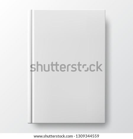 Realistic white book with a blank cover. Vertical closed book mockup isolated on white background. White blank cover. Book blank cover isolated mockup #1309344559