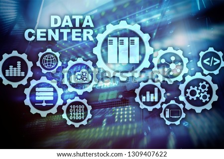 Data Center of the Future on a virtual screen. Business information technology concept. Storing data and securing business continuity. #1309407622