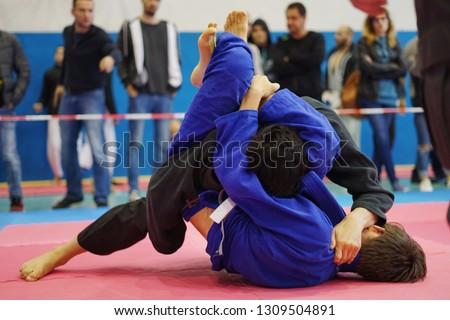Brazilian Jiu Jitsu Tournament. BJJ Fight Royalty-Free Stock Photo #1309504891