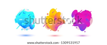Abstract design set of liquid shapes. Fluid vector design. Gradient flyer, banners with flowing liquid shapes. Modern presentation template. #1309531957