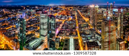 an overview about the banking district of Frankfurt am Main Germany #1309587328