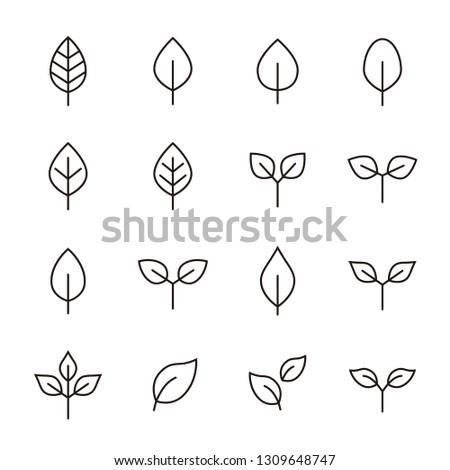 Leaf  icon set #1309648747