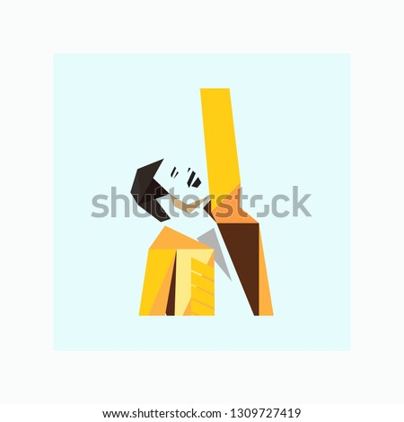 Famous rock singer with a raised hand. Singer icon. Freddie mercury isolated on a white background. Famous person. Vector illustration
