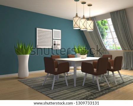 Interior dining area. 3d illustration #1309733131