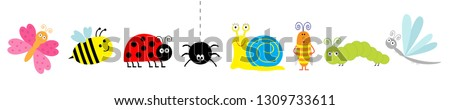 Cute cartoon insect set line. Ladybug, ladybird dragonfly, bee, butterfly, caterpillar spider, cockroach snail. White background Isolated. Vector illustration