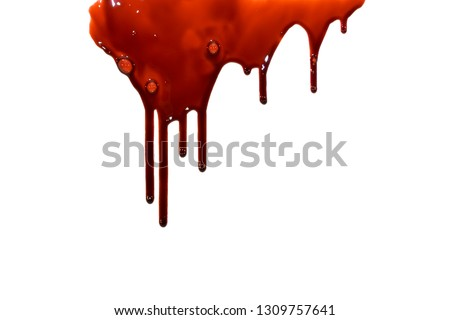 Red blood drips on isolated white background