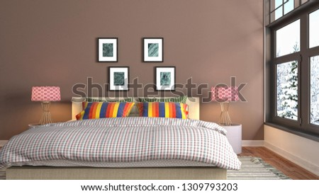 Bedroom interior. 3d illustration #1309793203