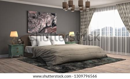 Bedroom interior. 3d illustration #1309796566
