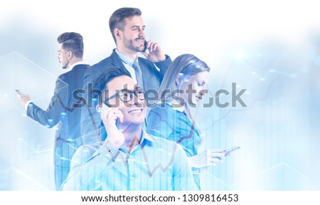 Diverse young business team members using their smartphones over blurred white background with double exposure of graphs. Business communication concept. Mock up #1309816453
