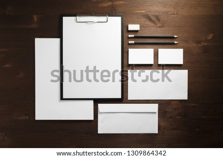 Corporate identity template. Blank stationery mock up on wooden background. Flat lay. #1309864342