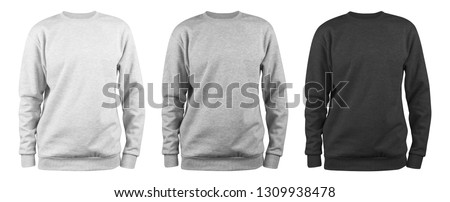 set of men's blank sweatshirt template - white, grey, black, natural shape on invisible mannequin, for your design mockup for print, isolated on white background. #1309938478