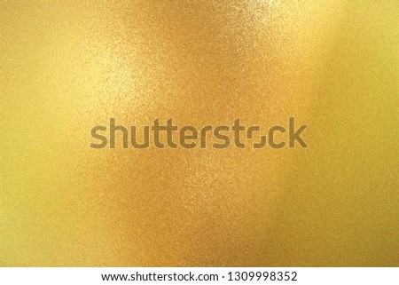 Texture of yellow brushed metallic plate, abstract background #1309998352