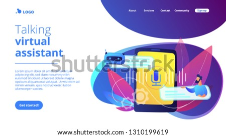 Businessman communicates with chatbot with voice commands. Voice controlled chatbot, talking virtual assistant, smartphone voice application concept. Website vibrant violet landing web page template. #1310199619