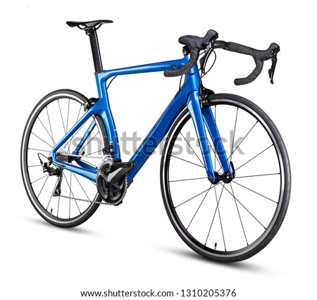 blue black modern aerodynmic carbon fiber racing sport road bike bicycle racer isolated on white background Royalty-Free Stock Photo #1310205376