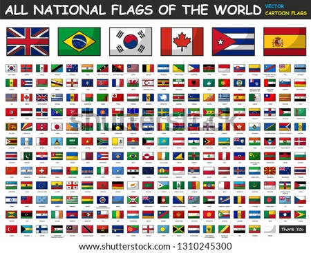 All national flags of the world . Cartoon style . #1310245300