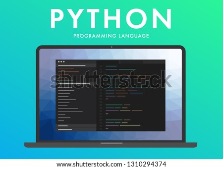 Python programming language. Learning concept on the laptop screen code programming. Command line python interface with flat design and gradient purple background.