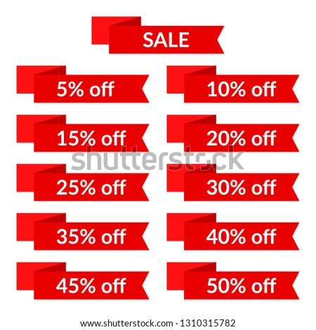Set of red sale ribbons with different discount values. Sale label template #1310315782