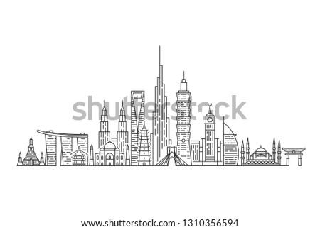 Asia skyline. Travel and tourism background. Asian landmarks. Outline vector illustration. #1310356594
