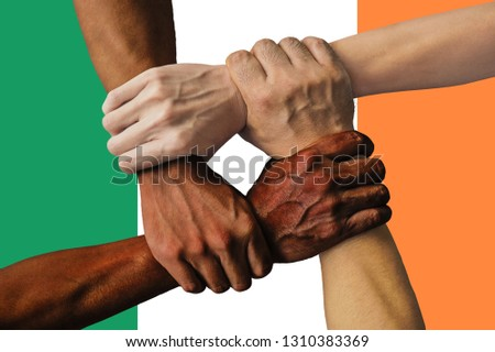 Ireland flag, intergration of a multicultural group of young people  #1310383369