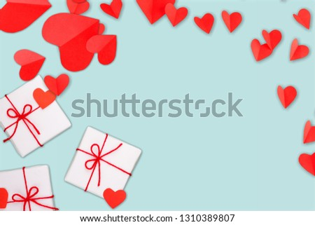 Valentine's Day background. Gifts, candle, confetti, envelope #1310389807