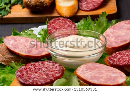 Several sandwiches with sausage and salami and sauce on a plate, close up #1310569331