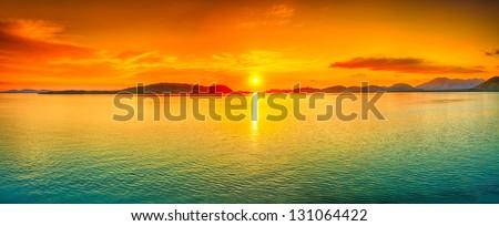 Sunrise over the sea. Panorama #131064422