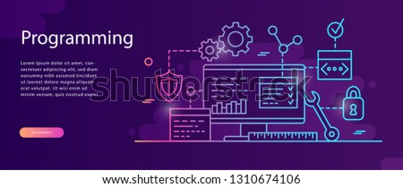 Concept Programming, Coding, Testing for website and application development . Vector illustration,  Software API prototyping and testing, interface building process, start up