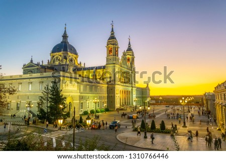 Sunset view of the Almudena cathedral in Madrid #1310766446