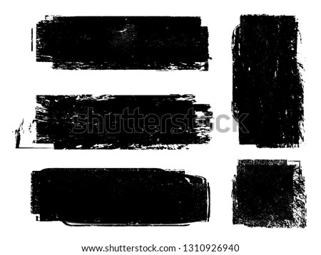 Grunge Paint Roller . Vector brush Stroke . Distressed banner . Black stripes isolated. paintbrush collection . Modern Textured shape . Dry border in Black . Bulge lines #1310926940