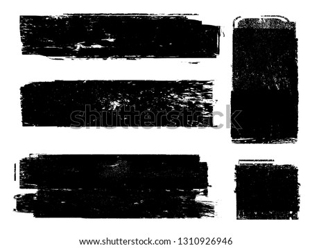 Grunge Paint Roller . Vector brush Stroke . Distressed banner . Black stripes isolated. paintbrush collection . Modern Textured shape . Dry border in Black . Bulge lines #1310926946