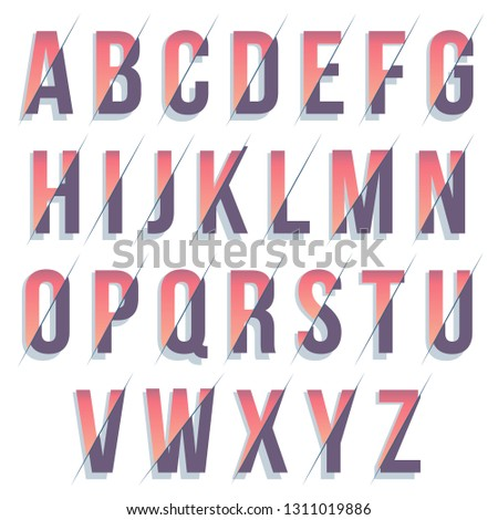 Colorful Typography font design with shadows #1311019886
