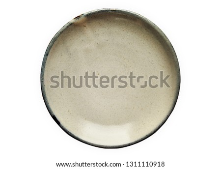Ceramic plate, Empty plate with granite texture, View from above isolated on white background with clipping path                     #1311110918