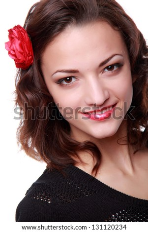 Portrait of lovely female european young woman #131120234