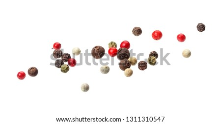 Pepper mix. Heap of black, red, white and allspice peppercorn seeds isolated on white background #1311310547
