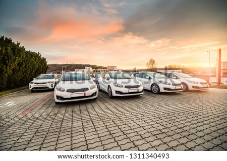New cars stock for sale at dealership prepared for customers during the sunrise in South Moravia, Czech Republic. #1311340493