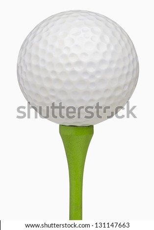 Golf ball on tee, isolated on white, includes clipping path #131147663