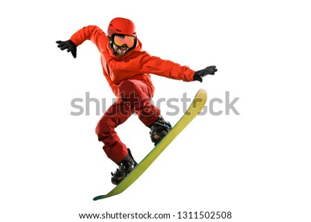 Portrait of young man in sportswear with snowboard isolated on a white studio background. The winter, sport, snowboarding, snowboarder, activity, extreme concept #1311502508