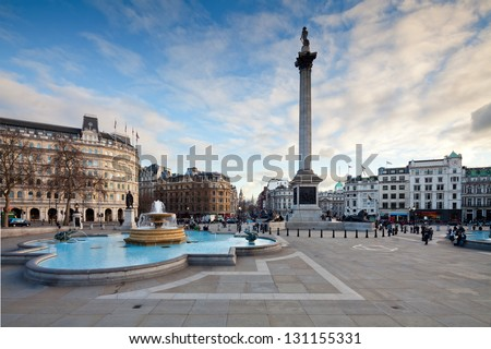Trafalgar Square is a public space and tourist attraction in central London. Landscape shot with tilt-shift lens maintaining verticals