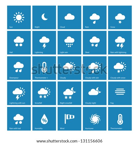 Weather icons on blue background. See also vector version. #131156606