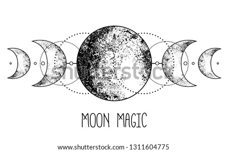 Triple moon pagan Wicca moon goddess symbol. Three-faced Goddess: Maiden – Mother – Crone vector illustration.  Tattoo, astrology, alchemy, boho and magic symbol. Coloring book. #1311604775