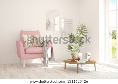 White cozy minimalist room with pink armchair. Scandinavian interior design. 3D illustration #1311623426
