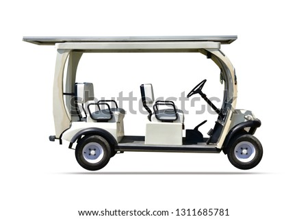 Golf car design on white background
