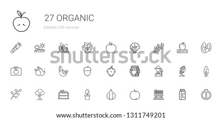 organic icons set. Collection of organic with farm house, peach, fig, plant, vegetable, tree, branch, farmer, honey, pepper, hazelnut, hen. Editable and scalable organic icons. #1311749201