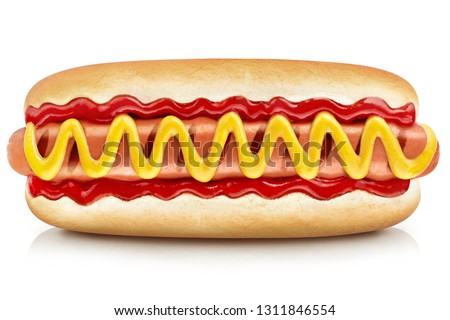 Delicious hot dog with ketchup and mustard, isolated on white background #1311846554