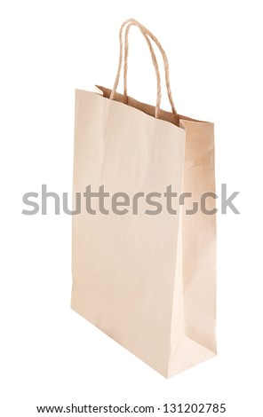 Simple paper bag isolated on white background #131202785