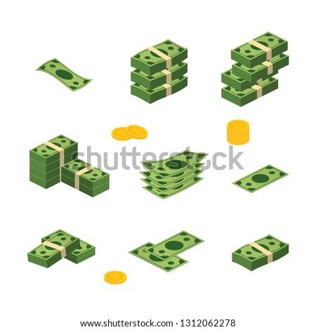 Various money bills dollar cash paper bank notes vector set. Money cash heap. Vector stock illustration. #1312062278