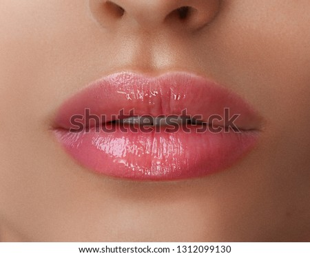 Permanent Make-up on her Lips. Royalty-Free Stock Photo #1312099130