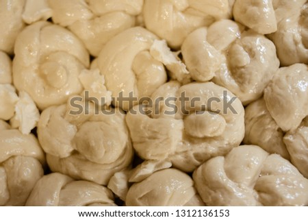 Fresh raw dough balls background #1312136153