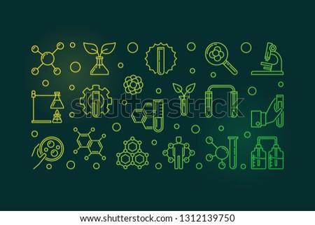 Biological Chemistry vector colored outline concept horizontal banner on dark background #1312139750