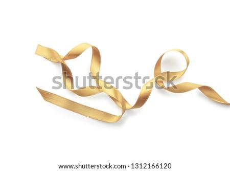 Beautiful golden ribbon on white background #1312166120